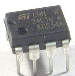 24C16 - seriová EEPROM 2Kx8bit, DIL8 /ST/