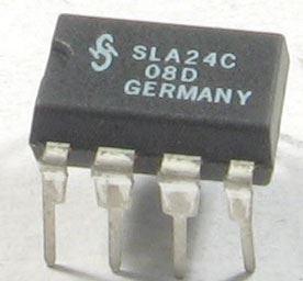 24C08 - seriová EEPROM 1024x8bit, DIL8 /Siemens/