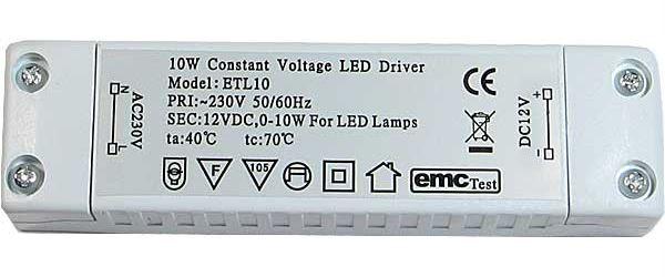 Zdroj-LED driver 12VDC/10W ETL-10