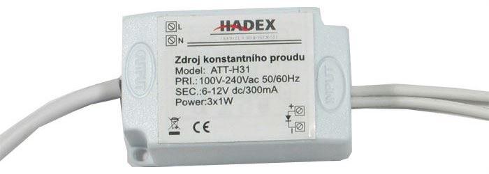 Zdroj-LED driver 3W, 6-11V/300mA pro 2-3LED 1W, napájení 230V