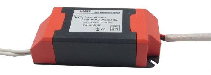Zdroj-LED driver 12W, 22-44V/300mA pro 6-12LED 1W, napájení 230V