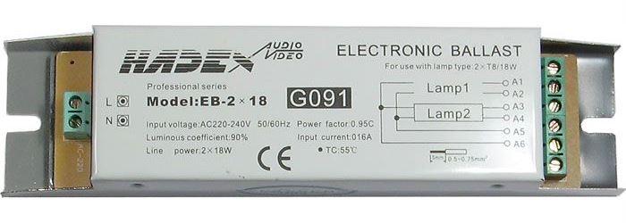 Elektronický předřadník EB-2x18 pro 2 zářivky 18W