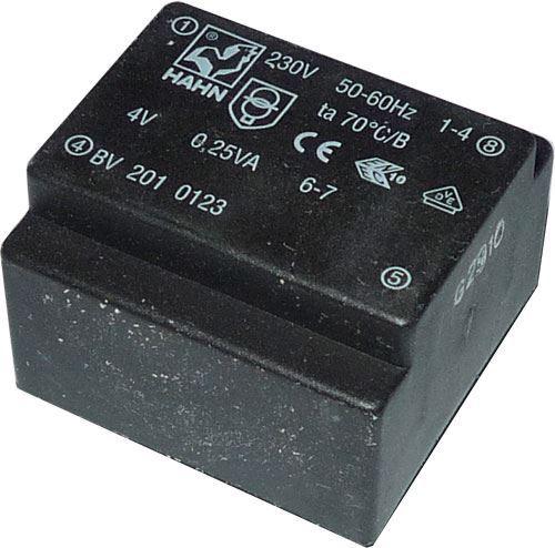 Trafo DPS 2x6V/0,5VA  HAHN Ta70B, 29x29,5x15mm