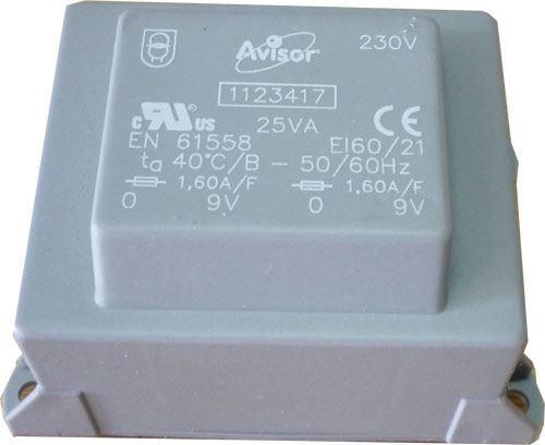 Trafo DPS 25VA 230V/2x9V AVISOR