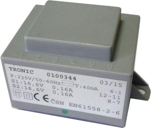 Trafo DPS 5VA 230V/2x16,6V 0,16A TRONIC