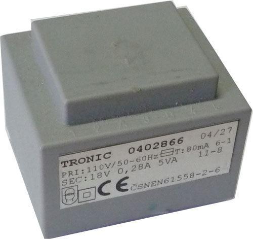 Trafo DPS 5VA 110V/18V 0,28A TRONIC