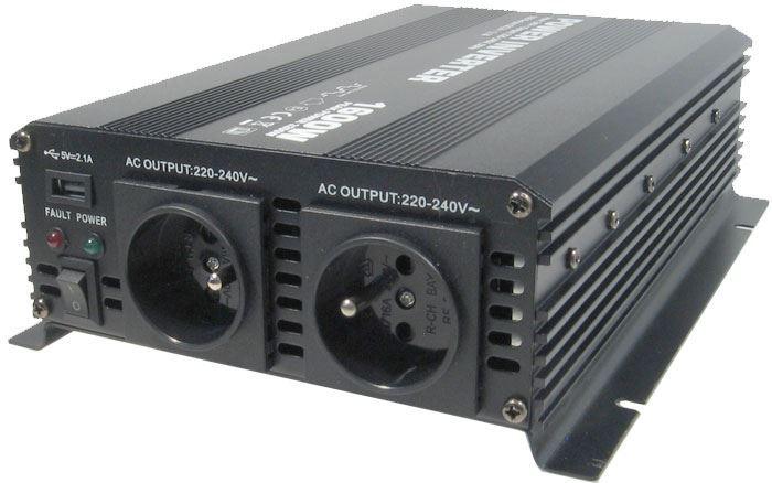 Měnič napětí 24V/230V+USB 1600W, Soluowill NM1,6K-24,modifikovaná sin.