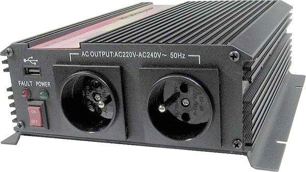 Měnič napětí 24V/230V+USB 1000W, CARSPA CAR-1KU, modifikovaná sinus