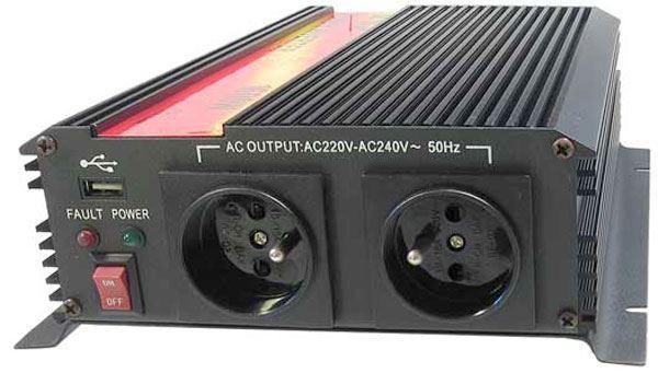 Měnič napětí 24V/230V+USB 1600W, CARSPA CAR1.6K, modifikovaná sin.