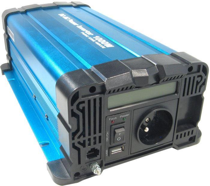 Měnič napětí 12V/230V+USB 1000W, Solarvertech FS1000-212, čistá sin.