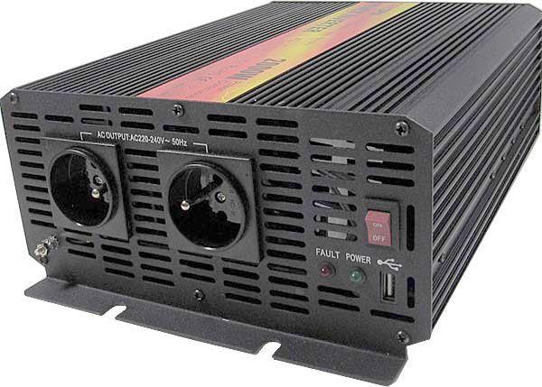 Měnič napětí 24V/230V+USB 2000W, CARSPA CAR2K, modifikovaná sin.