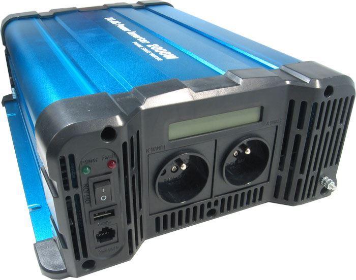 Měnič napětí 24V/230V+USB 2000W, Solarvertech FS2000-224, čistá sin.
