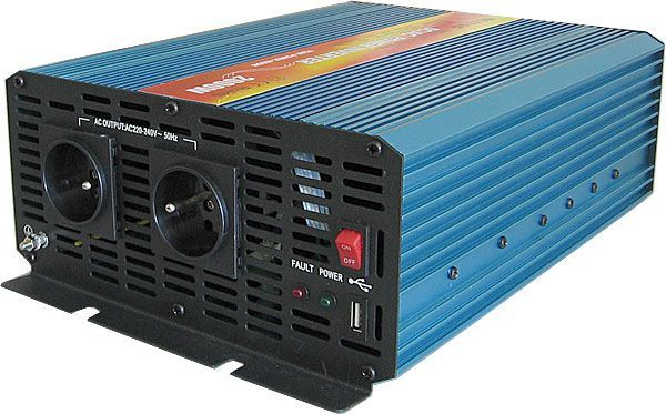 Měnič napětí 12V/230V+USB 2000W, CARSPA P2000, čistá sinusovka