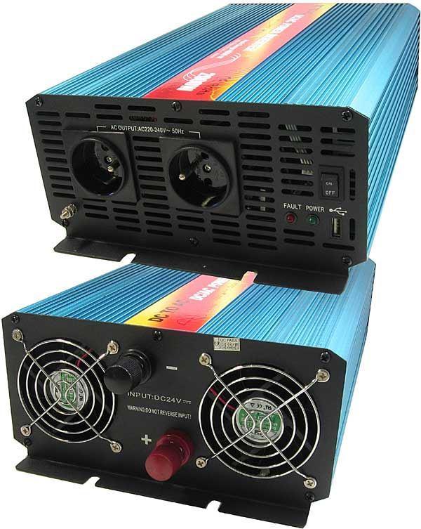 Měnič napětí 24V/230V+USB 2000W, použitý, funguje do 29V