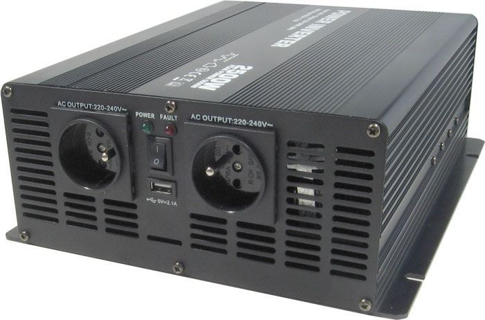 Měnič napětí 12V/230V 2500W, Soluowill NM2,5K, modifikovaná sinusovka