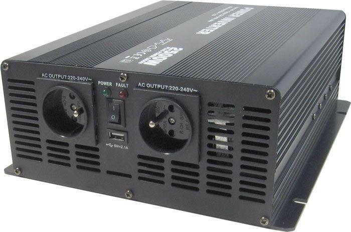 Měnič napětí 24V/230V 2500W, Soluowill NM2,5K, modifikovaná sinusovka