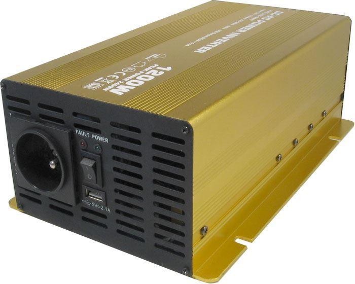 Měnič napětí 24V/230V+USB, 1200W, Soluowill NP1200-24, čistá sinusovka