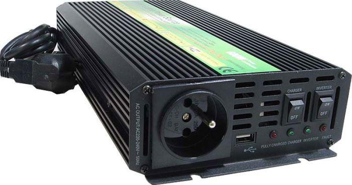 Měnič napětí+UPS 12V/230V/600W, CARSPA UPS600, modifikovaná sinusovka