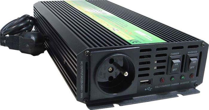 Měnič+UPS+nabíječ 24V/230V/600W,modif.sinus. CARSPA UPS600