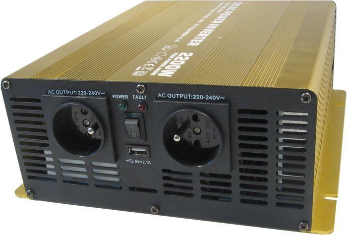 Měnič napětí 24V/230V+USB, 2200W, Soluowill NP2200-24, čistá sinusovka