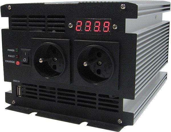 Měnič 12V/230V+UPS 600W,čistá sinusovka, JYINS, po opravě
