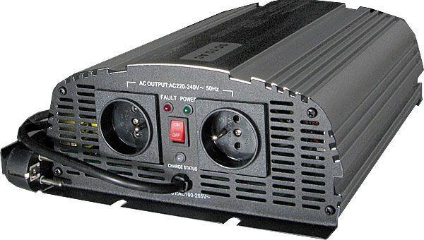 Měnič 12V/230V+UPS 1000W, čistá sinusovka, CARSPA