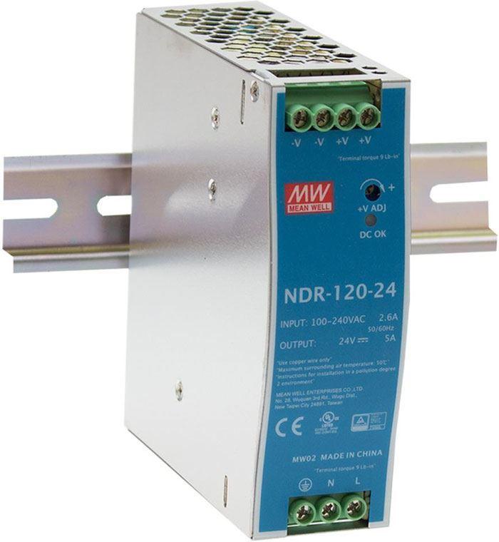 Průmyslový zdroj Mean Well NDR-120-24, 24V=/120W spínaný na DIN lištu