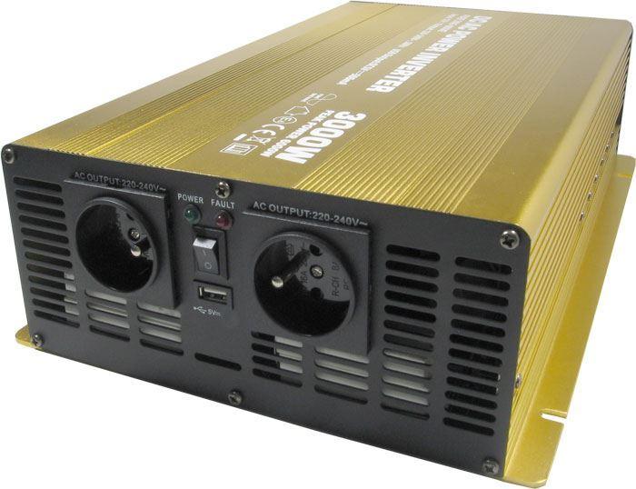 Měnič napětí 12V/230V+USB, 3000W, Soluowill NP3000-12, čistá sinusovka