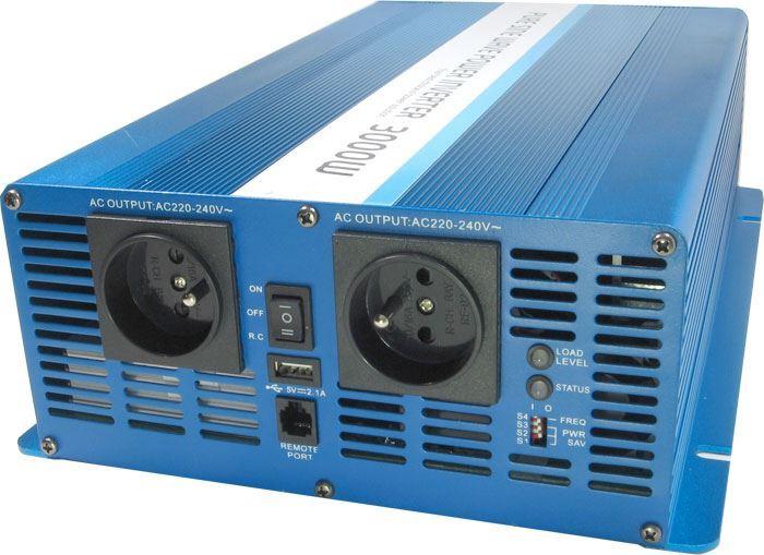 Měnič napětí 12V/230V+USB, 3000W, CARSPA SK3000, čistá sin, heavy duty