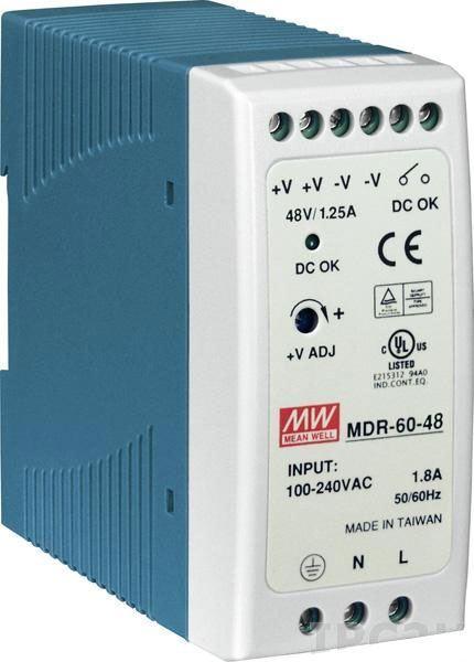 Průmyslový zdroj Mean Well MDR-60-48, 48V=/60W spínaný na DIN lištu