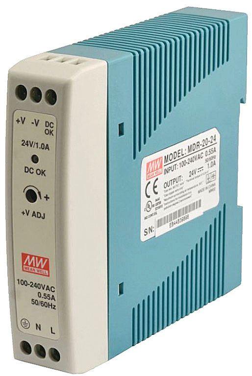 Průmyslový zdroj Mean Well MDR-20-24, 24V=/20W spínaný na DIN lištu