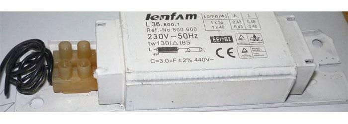 Tlumivka LENFAM L36.800.1 36-40W k zářivce, použitá