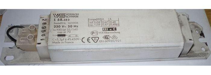 Tlumivka VOSSLOH SCHWABE  58W k zářivce, použitá