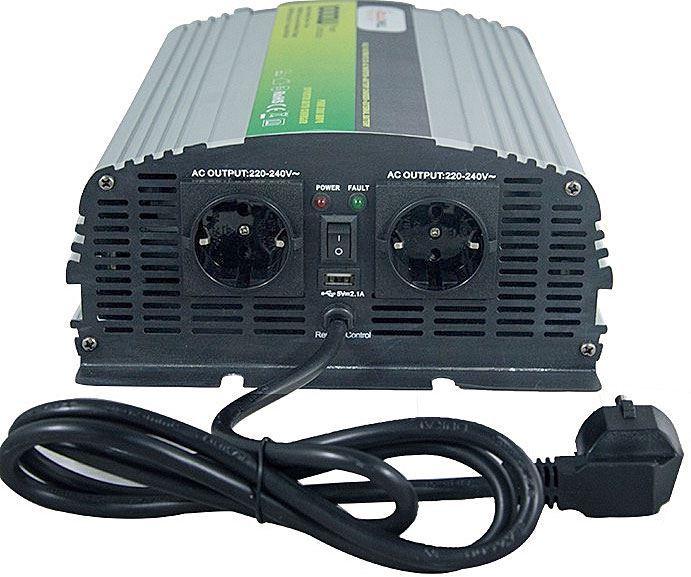 Měnič+UPS+nabíječ 12V/230V/1000W, čistá sinus., Soluowill NPS1000