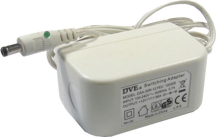 Napáječ, síťový adaptér DVE 12V/1,66A spínaný, koncovka 4,75x1,7mm