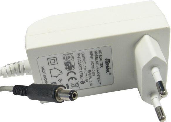 Napáječ, síťový adaptér Foxlink 12V/1,6A spínaný, konc.5,5x2,1mm, bílý