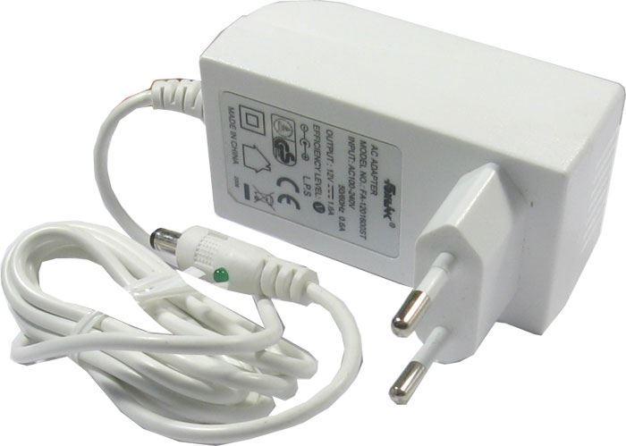 Napáječ, síťový adaptér Foxlink 12V/1,6A spínaný, 4,75x1,7mm, bílý