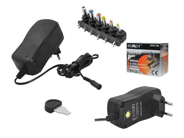 Napáječ, síťový adaptér 3-12V/0,5A spínaný, KEMOT