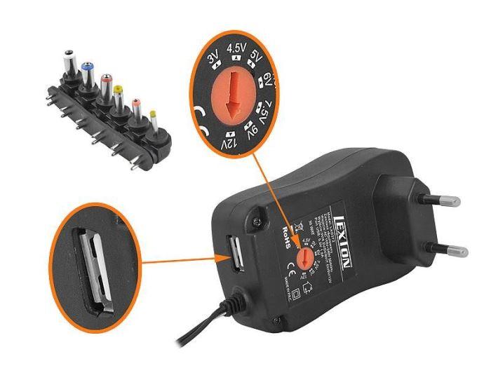 Napáječ, síťový adaptér 3-12V/2,5A spínaný, USB, LEXTON