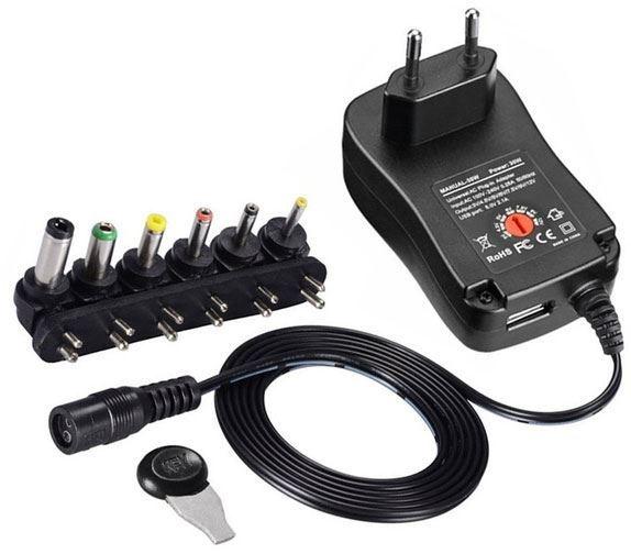 Napáječ, síťový adaptér MANUAL-30W, 3-12V/2,5A +USB 5V/2,1A, spínaný
