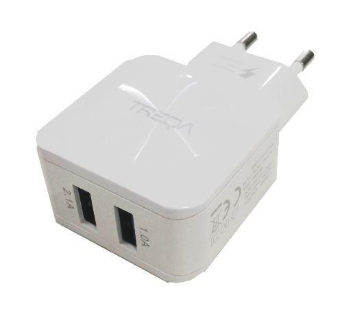 Napáječ, síťový adaptér 2xUSB 5V / 2,4A TREQA - bílá