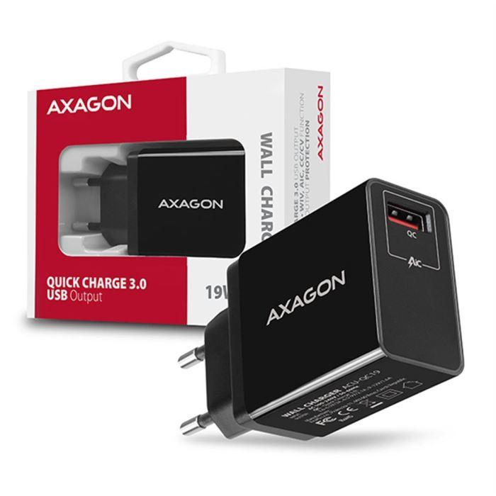 Napáječ AXAGON ACU-QC19 USB QC3.0 quick charger, černá