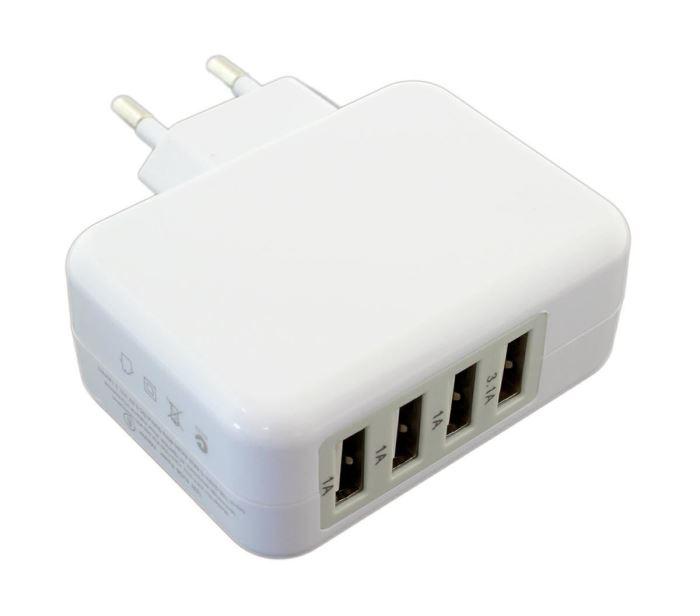 Napáječ, síťový adaptér USB 4x  5V/ 2,1A