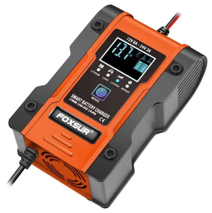 Nabíječka s automatikou FOXSUR FBC122406D pro Pb a LiFePO4 baterie