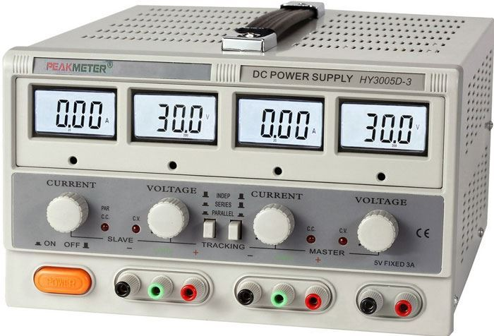Laboratorní zdroj PeakMeter HY3005D-3 2x0-30V/0-5A + 1x5V/3A