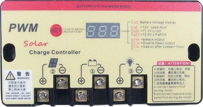 Solární regulátor PWM KTN-B-20A 12-24V/20A