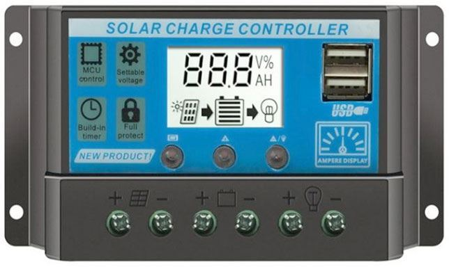 Solární regulátor PWM KLX3220 12V/20A+USB pro různé baterie