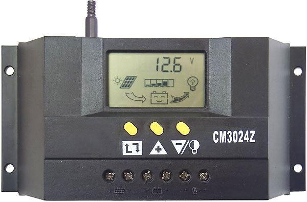 Solární regulátor PWM CM3024Z 12-24V/30A s LCD, vadný