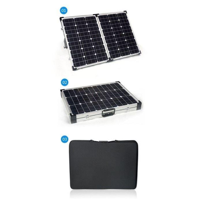 Přenosný fotovoltaický solární panel 12V/2x50W s regulátorem