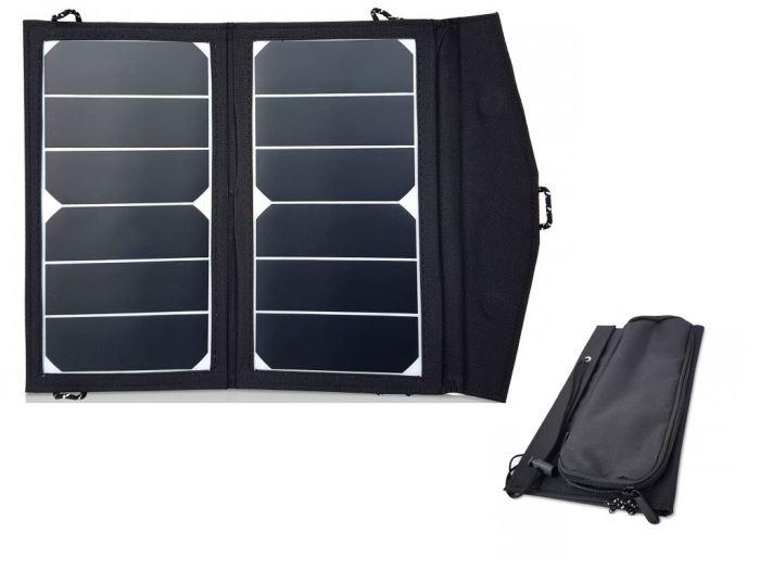 Přenosný fotovoltaický solární panel 2x7W s USB, solární nabíječka